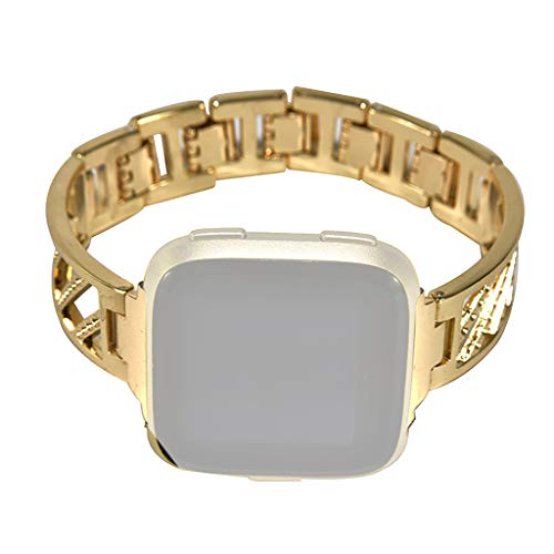 Bands Compatible For Fitbit Versa, 2019HOHO Luxury Alloy Twill Diamond Stainless Steel Band Strap Metallic Twill Diamond Replaceable Straps for Fitbit Versa Smart Watch