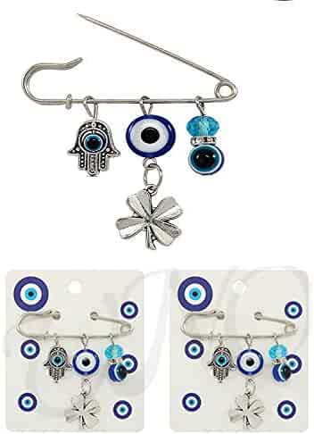 281d08552 My Love My Saint 3PCS Good Luck Blue Evil Eye Hamsa Pin Set Protection  Brooch for