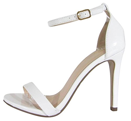 Cambridge Select Womens Open Toe Single Band Buckled Ankle Strap Stiletto High Heel Sandal White Patent U5Uc8L