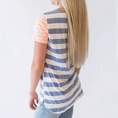 Confortable Mode V T Courtes Rayures Spcial Jeune Style Cou Mode Haut Manches Tops Blau Casual T Elgante Femme Shirt Et Shirts 4x4Uz7