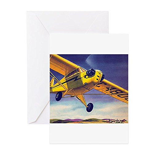 (CafePress Piper Cub In Flight Greeting Card (10-pack), Note Card with Blank Inside, Birthday Card Matte)