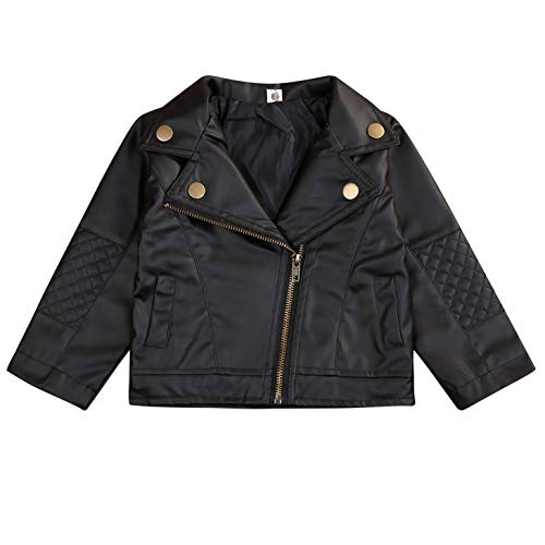 Noubeau Toddler Boys Girls Motorcycle Faux Leather Jackets Coat Winter Outwear for 1-5Y (Black, 4T) (The Best Leather Jackets)