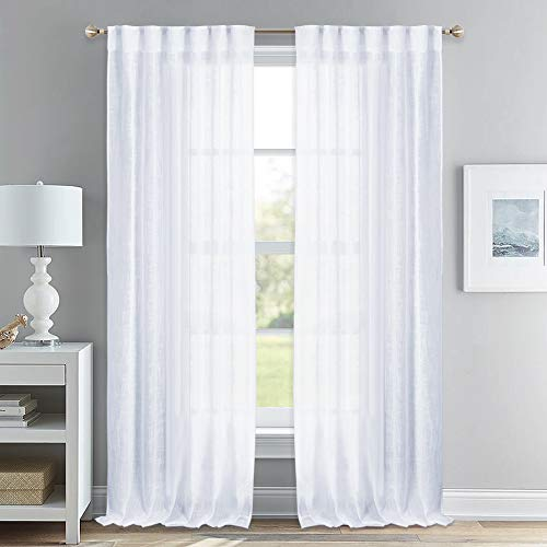 - NICETOWN Linen Textured Voile Panels - Rod Pocket & Back Tab Design Translucent Sheer Drapes for Sliding Glass Door (White, 52