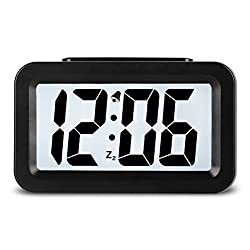 Creative Smart Nightlight Mini Digital Alarm Clock,Battery Operated Alarm Clock With Adjustable Light, Ultra-quiet Bed/ Desktop/Travel Electronic Clock (CSNZ-35)(black)