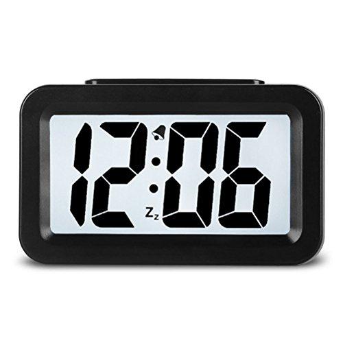 Creative Smart Nightlight Mini Digital Alarm Clock,Battery Operated Alarm Clock With Adjustable Light, Ultra-quiet Bed/ Desktop/Travel Electronic Clock (CSNZ-35)(black)