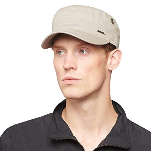 Cotton Military Cap Hat - CACUSS Men's Caps Army Hat Cotton Classic Military Hats Adjustable Comfy Cadet Hat Vintage Flat Top Cap Baseball Cap(Beige)