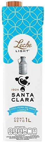 Santa Clara Leche Light 1 Litro, Paquete de 12