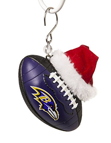 NFL Baltimore Ravens Football Christmas Ornament, Small, Multicolored - Baltimore Ravens Team Santa Hat