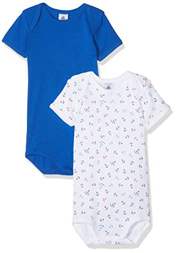 (Petit Bateau Set of 2 Baby Boys Short Sleeve Bodysuits Sizes 3-36 Months (Size 3 Months Babies Bodysuit Style 27695))