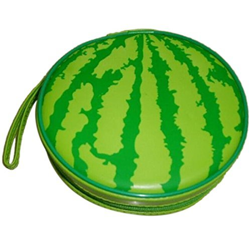 SODIAL(R) Green Watermelon Pattern 24 Capacity CD DVD Round Wallet Case (Round Cd Holder)