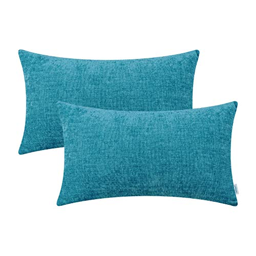 - CaliTime Pack of 2 Cozy Bolster Pillow Covers Cases for Couch Sofa Home Decoration Solid Dyed Soft Chenille 12 X 20 Inches Lake Blue