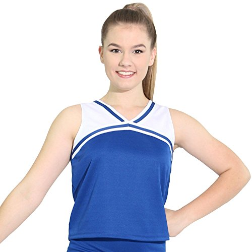 Danzcue Womens Classic Cheerleaders Uniform Shell Top, Royal-White, X-Small