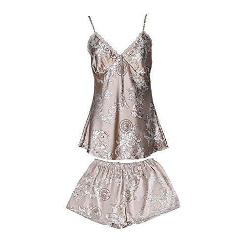 womens-pajama-sets-imitation-silk-soft-sleeveless-shorts-nighty-sleepwear-setsmkhaki