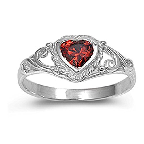 Sterling Silver Elegant Simulated Garnet Heart Solitaire Ring Solid 925 7mm Size (Solid Sterling Silver Heart Solitaire)