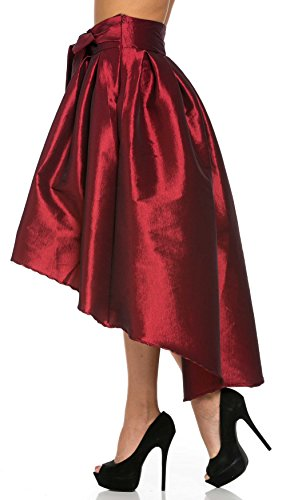 74ed98ad7b9f5 SOHO GLAM Burgundy Pleated High-Low Taffeta Midi-Skirt (Plus at Amazon  Women s Jeans store