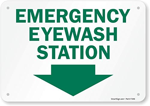 "SmartSign ""Emergency Eyewash Station"" Sign With Down Arrow 