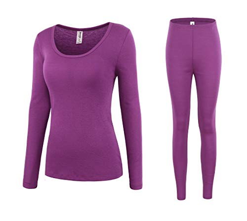 - Bienzoe Women's High Tech Fiber Thermals Long Johns Tops & Pants Set S Purple