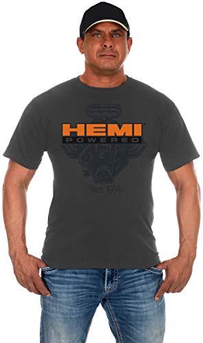 Men's Hemi Powered T-Shirt a Gray Short Sleeve Crew Neck Shirt (2X, Charcoal Gray)