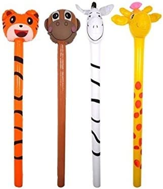1x Inflatable Jungle Animals Stick 118cm Assorted Designs