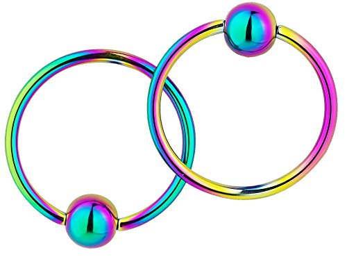 Bead Captive Hoop (Pair of 2 Rings: 18g 7/16 Inch Surgical Steel Rainbow Titanium IP Plated Captive Bead Hoop)