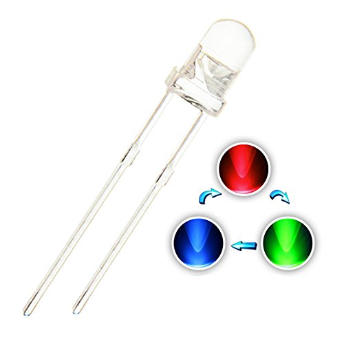 Chanzon 100 pcs 3mm RGB Multicolor Fast Flashing (Multi Color Changing) Dynamics LED Diode Lights (Blinking Round DC) Bright Lighting Bulb Lamps Electronics Components Filcker Light Emitting Diodes