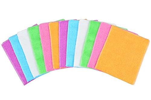 Mayouth Dish Towels Bamboo Fiber Dish Cloths Super Absorbent Kitchen Wash Cloth Dish Rags for Washing Dishes Fast Drying Cleaning Cloth (12-Pack) by Mayouth (Image #1)'