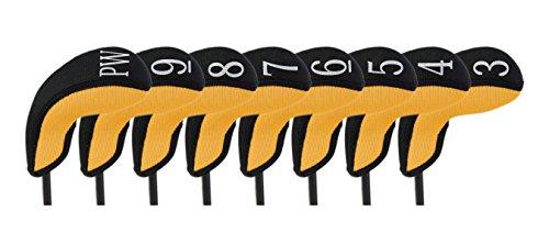 Stealth Club Covers 18050 Hybrid Set 3-PW Golf Club Head Cover (8-Piece), Yellow/Black ()