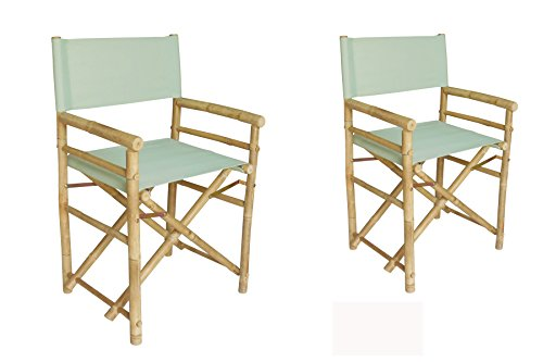 Phat Tommy Indoor and Outdoor Foldable Set of 2 Bamboo Directors Chairs –for Backyard, Garden and Patio by Phat Tommy
