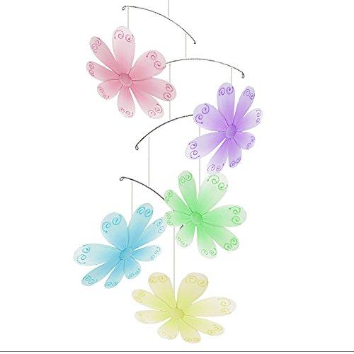Flower Mobile Swirls Nylon Mesh Flowers Mobiles Decorations Decorate Baby Nursery Bedroom, Girls Room Ceiling Decor, Birthday Party, Baby Shower, Crib Mobile, Baby Mobile, Hanging Mobile, 3D Art