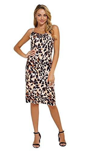 (Moxeay Womens Cowl Neck Backless Spaghetti Strap Cocktail Bodycon Midi Dress (S, Leopard Print))