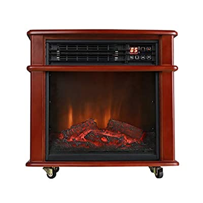 Caesar Fireplace FP404R-QC Rolling Mantel 1000W-1500W Overheat Safety Feature with Wheels Infrared Quartz Electric Freestanding Insert Heater Stove, Black