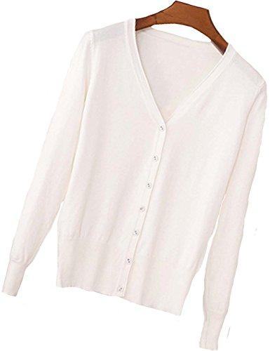 S.S Womens V-Neck Button Down Long Sleeve Crew Neck Soft Classic Basic Knit Cardigan Sweater (S-6X) (X-Large, Cream White)