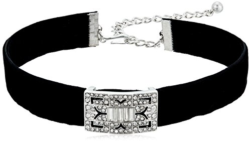 "Kenneth Jay Lane Black Velvet with Silver/Crystal Deco Choker Necklace, 12"" + 4"" Extender"