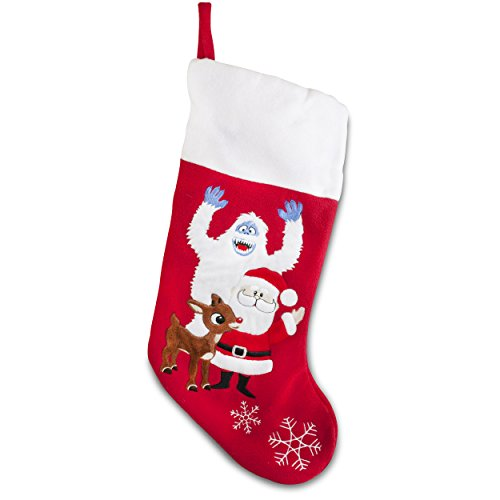 Soft Rudolph the Red Nosed Reindeer Embroidered Applique Stocking 18in Featuring Bumble and Santa -