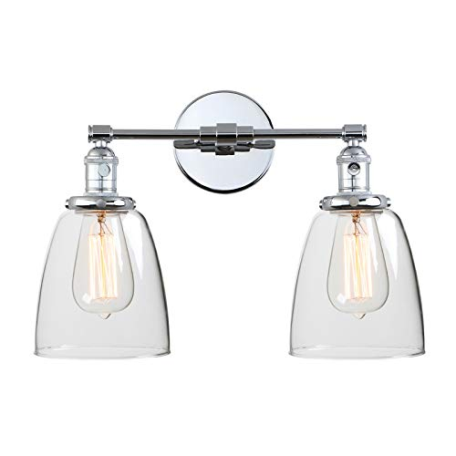 Series 2 Light Vanity - Phansthy 2 Lights Wall Sconce Double Sconce Light Fixture with Dual 5.9 Inches Handmade Dome Glass Lampshade (Chrome)