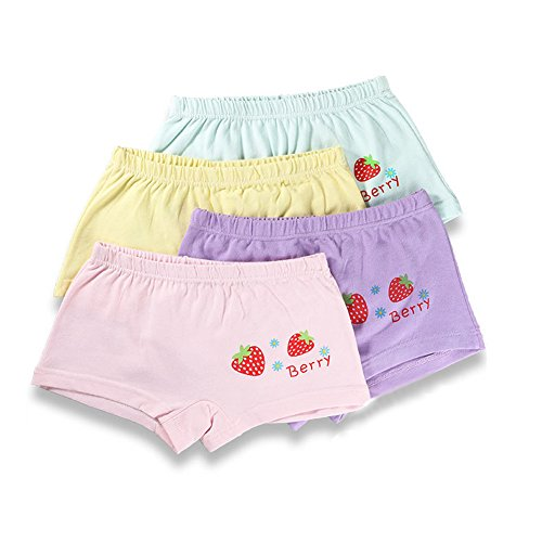 Shorty Boyshorts Panty (Toddler Girls Strawberry Boyshort Underwear Candy Color Panties,4 Pack)