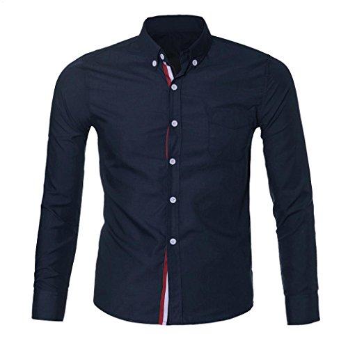 Price comparison product image Mens Long Sleeve Shirt ! Charberry Fashion Mens Ribbon Long Sleeve Slim Fit Stylish Dress Shirts (US-M / CN-L,  Dark Blue)