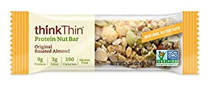 thinkThin Protein Nut Bar, Original Roasted Almond, 1.36 Ounce, (10 Count)