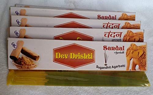 光沢暗殺あそこDev Drishti Sandal Agarbatti Pack Of 12 (Per Pack of 15 Sticks)
