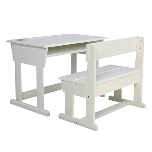 Kid's Children's Student Wood Desk and Chair Set with Hutch, School Study Child's Table Set White