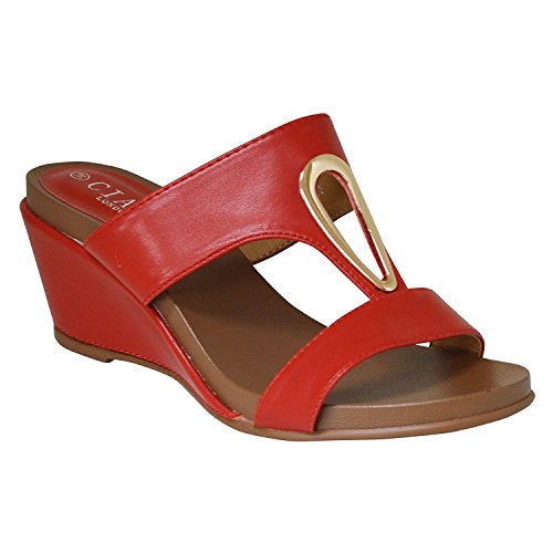 Ciara Women's Tola Open Toe Mid Wedge Mule Sandals Red EsIa4