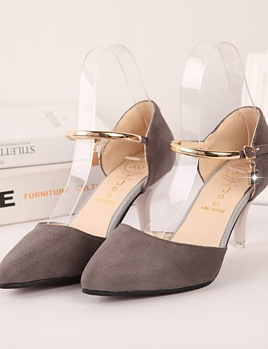 ShangYi Women's Shoes Leatherette Stiletto Heel Heels / Pointed Toe Heels Wedding / Office & Career / Casual Black / Red / Gray Grey ySxKvBD