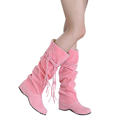 Womens Pink Boots (Wonshine Women's Fashion Slouchy Flat Boots Faux Suede Mid Calf Boots Pink 8.5)