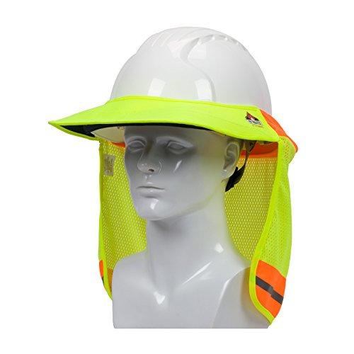 EZ-Cool 396-801FR-YEL FR Treated Hi-Vis Hard Hat Neck Sun Shade Shield Accessories with Visor, Large, Yellow - Fits Both Cap Style & Full Brim Hard -