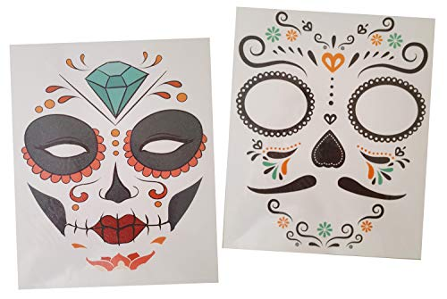 Halloween Face Tattoo Sparkle Stickers Day of the Dead Sugar Skull Couples Costume-2 Sheets (Mustache and Diamond) for $<!--$10.99-->