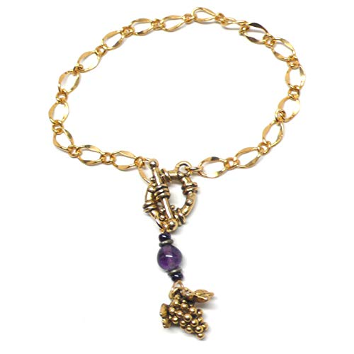 Pewter Grape Cluster Gold-Tone Chain Bracelet 7.5 Inches Amethyst