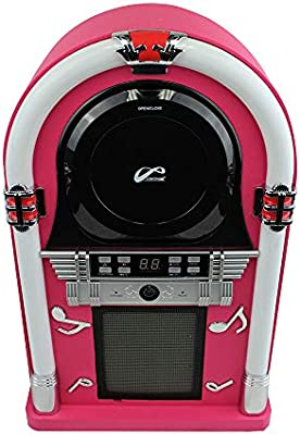 PPG Retro Desktop Jukebox with Modern Bluetooth FM Radio 3.5mm Aux-in Jack and Color Shifting LED Lights Front-Loading CD Player Blue Medium 16.5 Inch Tall