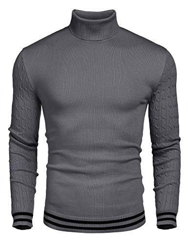 COOFANDY Men's Basic Ribbed Thermal Knitted Pullover Slim Fit Turtleneck Sweater, Grey, Medium