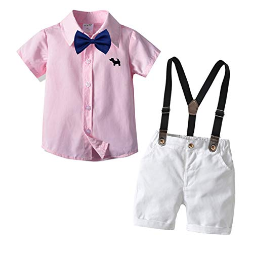 (Carlatar Little Boys Gentleman Outfits Suits,Baby Boys Short Sleeve Shirt Set,Short Shirt+Suspender Short Pants+Bow Tie 4Pcs (Pink, 80/1-2Y))