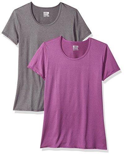 32 Degrees Weatherproof Womens Short Sleeve Sccop Neck Cool Tee -Medium, 2-Pack ( HT.Grey- HT.Purpel